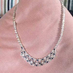 Stimulated sapphire and diamond necklace